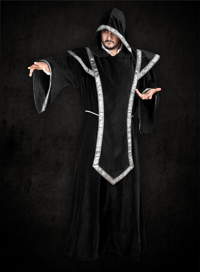 Costume - Black Hooded Robe and Tabard - TheVikingStore.co.uk